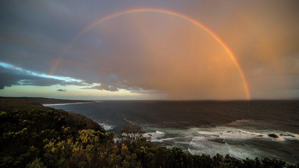 rainbow, coast, sunset